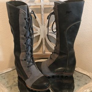 SOREL CATE THE GREAT WEDGE BOOT BLACK GRAY SZ 8.5